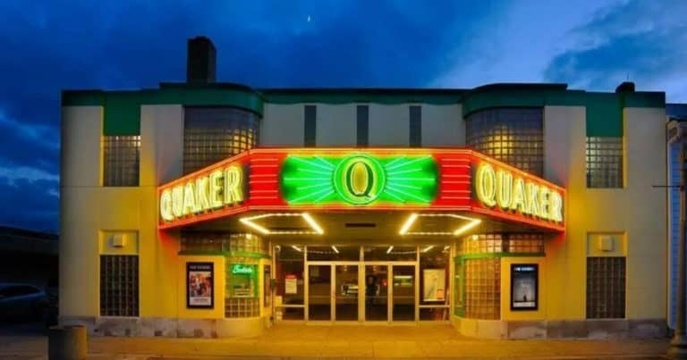 Exterior of Quaker Cinema in downtown New Philadelphia, Ohio
