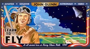 photo of the John Glenn mural during the digitization process