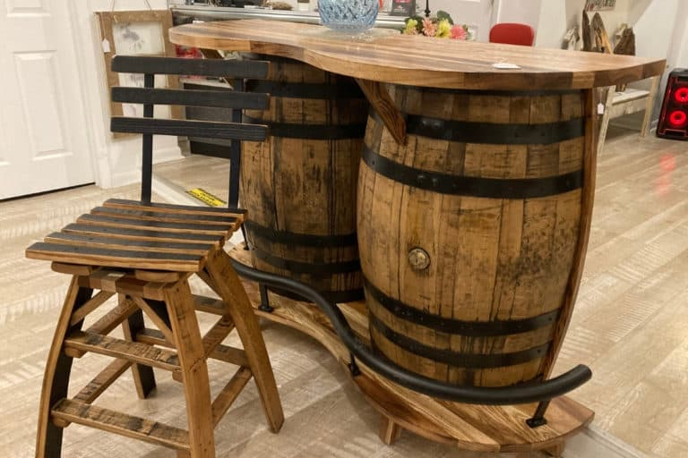 Bar made of whiskey barrels