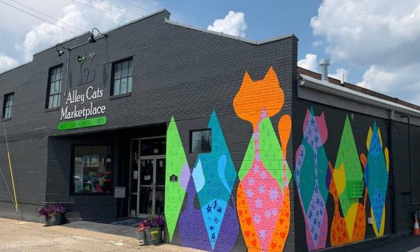 Exterior of Alley Cats Marketplace featuring bright cat mural